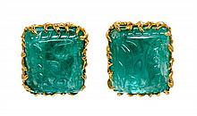 * A Pair of 18 Karat Yellow Gold and Carved Emerald Earclips, 24.50 dwts.