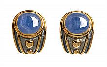 * A Pair of 18 Karat Yellow Gold, Sapphire and Enamel Earclips, De Vroomen, 31.20 dwts.