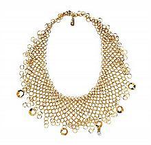 * An 18 Karat Yellow Gold and Diamond Mesh Bib Necklace, Orlando Orlandini, 31.50 dwts.