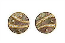 * A Pair of 18 Karat Karat Yellow Gold, Mother-of-Pearl and Diamond Earclips, Gemlok, 24.50 dwts.