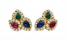 * A Pair of Vintage 18 Karat Yellow Gold, Sapphire, Emerald, Ruby and Diamond Earclips, Van Cleef & Arpels, 27.70 dwts.
