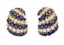 A Pair of 18 Karat Yellow Gold, Diamond and Sapphire Bombe Earclips, Elan, 19.30 dwts.