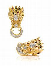 A Pair of 18 Karat Yellow Gold, Diamond, Ruby, Sapphire and Emerald Dragon Motif Earclips, 32.00 dwts.