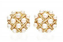A Pair of 18 Karat Yellow Gold, Cultured Pearl, and Diamond Earclips, 27.60 dwts.