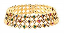 An 18 Karat Yellow Gold, Diamond, Ruby, Emerald and Sapphire Collar Necklace, Italian, 172.90 dwts.