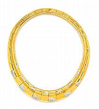 * An 18 Karat Yellow Gold and Diamond Collar Necklace, Chaavae, 112.24 dwts.