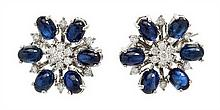A Pair of 18 Karat White Gold, Sapphire and Diamond Earclips, 8.60 dwts.