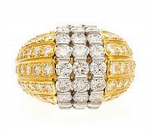 * An 18 Karat Yellow Gold, Platinum and Diamond Ring, 11.80 dwts.