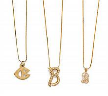 * A Collection of Yellow Gold Chain Necklaces, 6.10 dwts.
