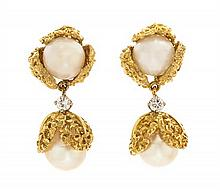 A Pair of 18 Karat Yellow Gold, Cultured Pearl, and Diamond Earrings, 12.70 dwts.
