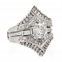 A Platinum and Diamond Ring, 5.90 dwts.