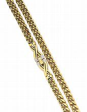 An 18 Karat Yellow Gold and Diamond Long Chain Necklace, 92.90 dwts