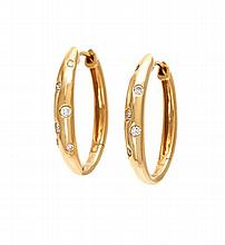 A Pair of 18 Karat Yellow Gold and Diamond Hoop Earrings, 2.30 dwts.