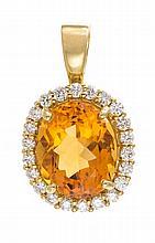 An 18 Karat Yellow Gold, Citrine and Diamond Pendant, 4.30 dwts.
