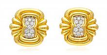 * A Pair Of 18 Karat Yellow Gold, Platinum and Diamond Earclips, Chaavae, 20.90 dwts.