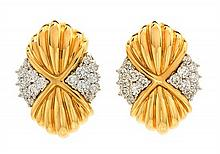 * A Pair of 18 Karat Yellow Gold, Platinum and Diamond Earclips, Chaavae, 20.10 dwts.