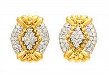 * A Pair Of 18 Karat Yellow Gold, Platinum and Diamond Earclips, Chaavae, 19.30 dwts.
