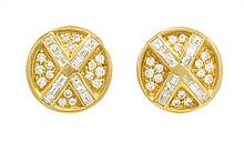 * A Pair Of 18 Karat Yellow Gold and Diamond Earclips, 7.90 dwts.