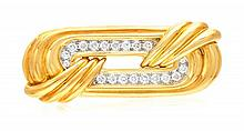 * An 18 Karat Yellow Gold, Platinum and Diamond Brooch, Chaavae, 14.20 dwts.