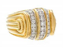 * An 18 Karat Yellow Gold, Platinum and Diamond Ring, Chaavae, 12.30 dwts.