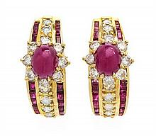 A Pair of 18 Karat Yellow Gold, Ruby and Diamond Hoop Earclips, 16.10 dwts.