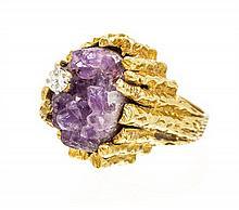 An 18 Karat Yellow Gold, Amethyst, and Diamond Ring 13.40 dwts.