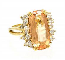 An 18 Karat Yellow Gold, Topaz and Diamond Ring, 6.20 dwts.