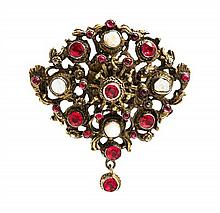 An Antique Gilt Silver, Pearl and Paste Pendant/Brooch, 14.80 dwts.