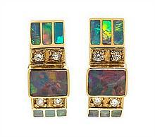 A Pair of 18 Karat Yellow Gold, Opal and Diamond Earrings, David Freeland, Jr., 4.20 dwts.