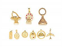 A Collection of Yellow Gold and Multigem Charms, 20.00 dwts.