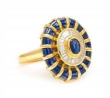 An 18 Karat Yellow Gold, Sapphire and Diamond Ring, 6.40 dwts.