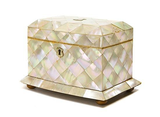 A Mother-of-Pearl Veneered Table Casket, Height 5 x width 6 3/4 x depth 4 1/2 inches.