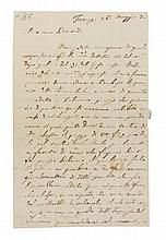 BELLINI, VINCENZO. Autographed letter signed, two and a half pages, Florence, May 26, 1832. To