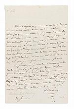 HALEVY, FROMENTAL. Autographed letter signed, one page, January 21, n.y. In French.