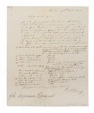 HUMMEL, JOHANN NEPOMUK. Autographed letter signed, one page, Weimar, October 6, 1831.