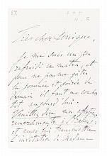 LISZT, FRANZ. ALS 3pp., Budapest, n.d. To Hans Von Bulow. re: Brahms.