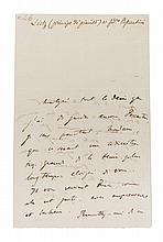 LISZT, FRANZ. Autographed letter signed, two pages, s.l., [June?], 8, 1842. In French.