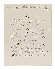 SAINT-SAENS, CAMILLE. Autographed letter signed, three pages. In French.