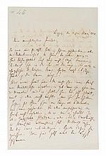 SCHUMANN, ROBERT. Autographed letter signed, two pages, Leipzig, May 21, 1840, in German.