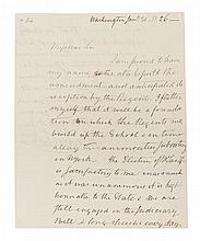 VAN RENSSELAER, STEPHEN. Autographed letter signed, two pages, January 21, 1826.