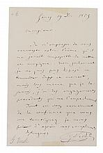 VERDI, GIUSEPPI. Autographed letter signed, one page, December 19, 1879. In French.