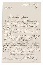 VON BULOW, HANS. Autographed letter signed, one page, January 10, 1879. With autographed document.