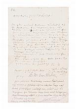 VON WEBER, CARL. Autographed letter signed, one page, September 21, 1821. Nuremberg. In German.