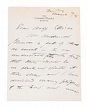 * SARGENT, JOHN SINGER. Autographed letter signed (