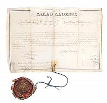 * CHARLES ALBERT, KING OF SARDENIA-PIEDMONT. Two documents signed (
