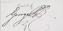 * GEORGE III AND CHARLOTTE OF MECKLENBURG-STRELITZ. Clipped signature of both (
