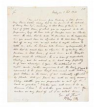 CLAY, HENRY. Autographed letter signed, one page, February 5, 1810.