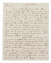 HULL, ISAAC. Autographed letter signed, two pages, March 5, 1810.