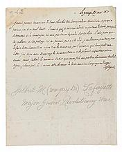 LAFAYETTE, MARQUIS DE. Autographed letter signed, half page, La Grange, May 13, 1817, in French.