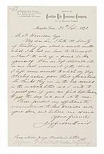 DAVIS, JEFFERSON. Autographed letter signed, one page, Memphis, February 28, 1872, initialled. To